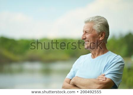 привлекательный · старший · человека · белые · волосы · усы - Сток-фото © paha_l