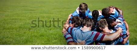 Rugby speler permanente bal witte sport Stockfoto © wavebreak_media