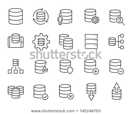 Proteger banco de dados ícone projeto negócio cinza Foto stock © WaD