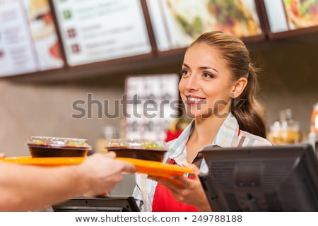vrouw · dienblad · vol · fast · food · asian - stockfoto © rastudio
