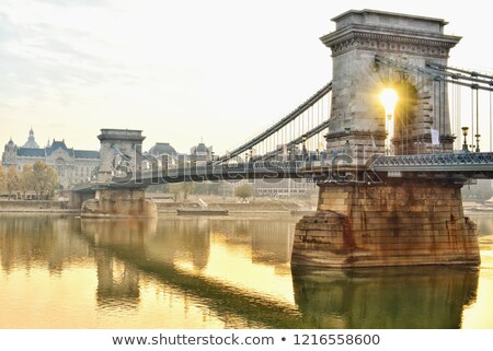 Cityscape of Budapest with Chain Bridge and Rising Sun Stock photo © Kayco