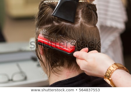 Közelkép portré stylist nő fodrászat fiatal Stock fotó © deandrobot