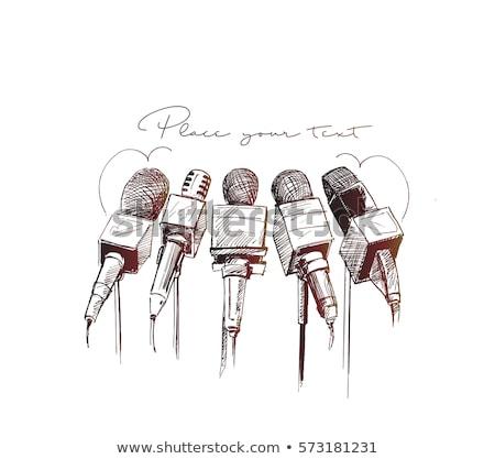 レトロな · ラジオ · スケッチ · アイコン · ベクトル · 孤立した - ストックフォト © rastudio