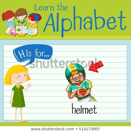 Lettre h casque illustration enfants enfant fond Photo stock © bluering