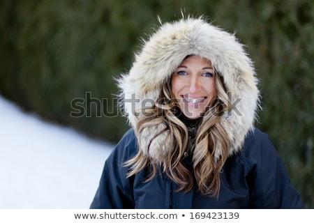 женщину · мех · улыбка · лице · моде - Сток-фото © nobilior