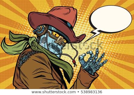 Steampunk robot oké kézmozdulat pop art retro Stock fotó © rogistok