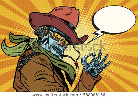 Steampunk robot okay gebaar pop art retro Stockfoto © rogistok