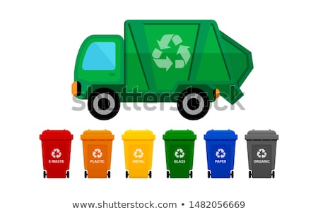 Stock photo: Rubbish truck and cans in four colors