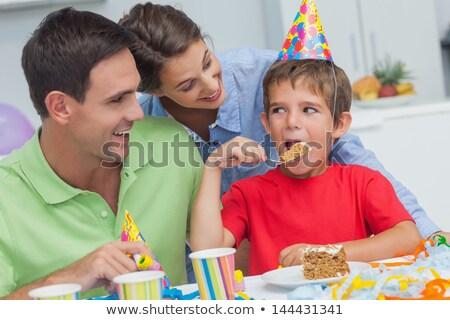 Genç baba doğum günü pastası küçük oğul arkadan görünüm Stok fotoğraf © deandrobot