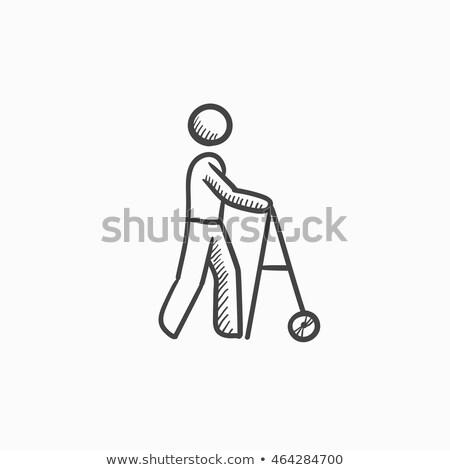 Man with crutches sketch icon. Stock photo © RAStudio