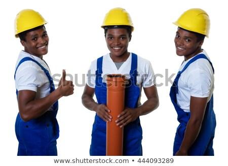 young african american builder laughing stock photo © rastudio