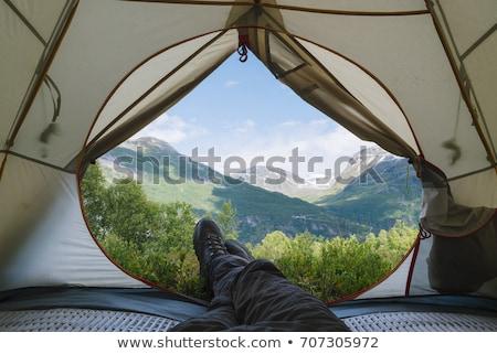 kempingezés · sátor · reggel · napfény · tájkép · felső - stock fotó © kotenko