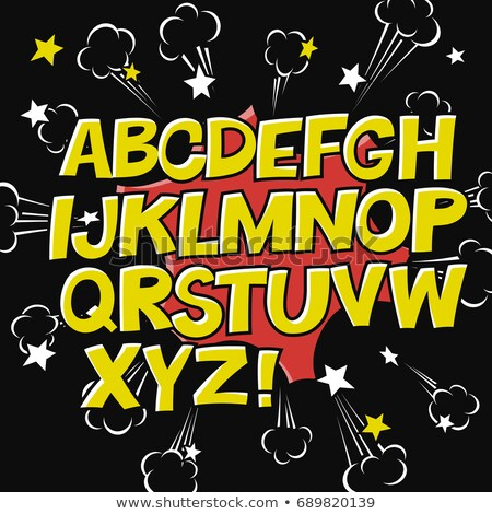 Comic alphabet and speech bubble element.Explode icon on black b Stock photo © pashabo