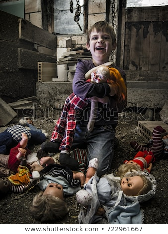 Creepy boy and scary clown doll in the barn Stock photo © sumners