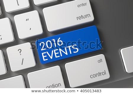 2016 evenementen Blauw toetsenbord sleutel Stockfoto © tashatuvango