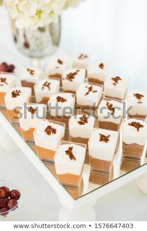 Gözlük çikolata puding tatlı tatlı Stok fotoğraf © mpessaris