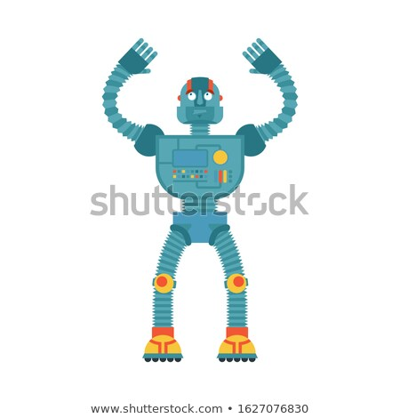 Robot confused emoji oops. Cyborg perplexed emotions. Robotic su Stock photo © popaukropa