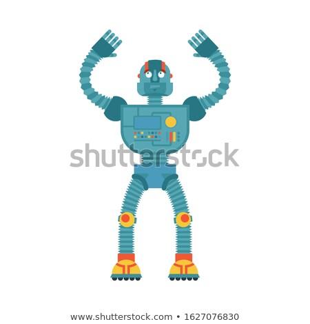robot · cyborg · pagina · bianco · nero · cartoon · illustrazione - foto d'archivio © popaukropa