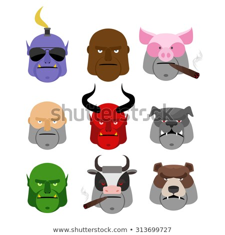 set serious head evil muzzles of animals and people terrible h stock photo © popaukropa