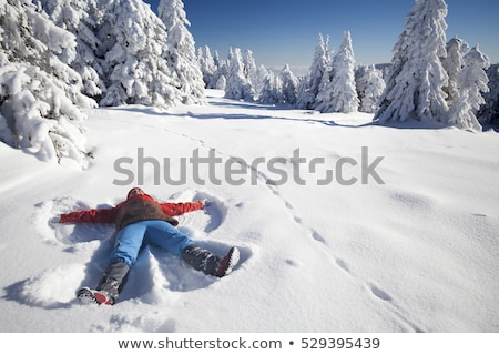 woman smiles laying in snow stock photo © is2