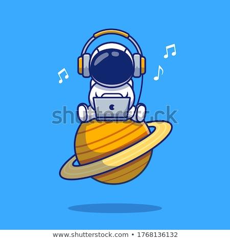 űrhajós Föld pop art retro képregény rajz Stock fotó © studiostoks