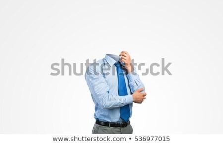 Pensativo empresário mão queixo negócio estratégias Foto stock © stokkete