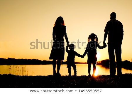 Father and Child Family Silhouette Stock photo © Krisdog