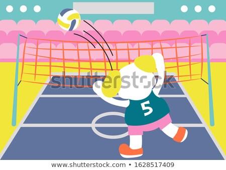 漫画 笑みを浮かべて バレーボール プレーヤー 子犬 ストックフォト © cthoman