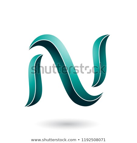 Persian Green Striped Snake Shaped Letter N Vector Illustration Stock photo © cidepix