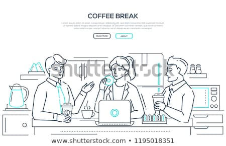 coffee break   modern line design style banner stock photo © decorwithme