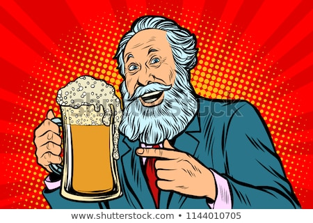 Smiling old man with a mug of beer foam Stock photo © rogistok