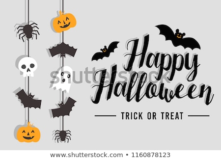 halloween banner with ghost and scary bats Stock photo © SArts