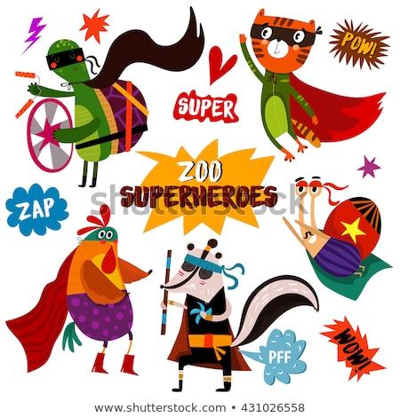 Cartoon superhero skunks ilustracja kostium szczęśliwy Zdjęcia stock © cthoman