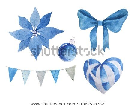 watercolor blue christmas ball with bow isolated on a white background stock photo © natalia_1947