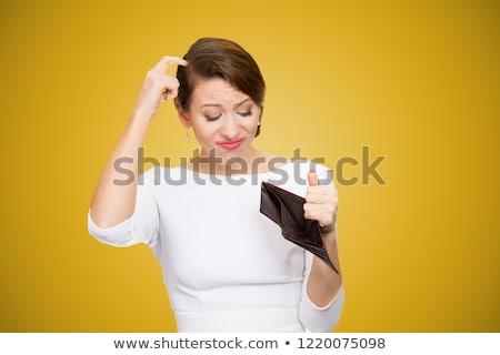 Karışık kadın boş cüzdan genç kadın kafa Stok fotoğraf © ichiosea