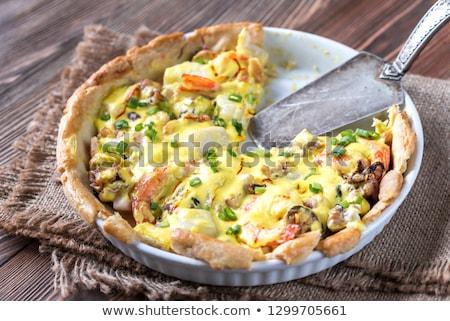 Deniz ürünleri turta safran krem sos gıda Stok fotoğraf © Alex9500