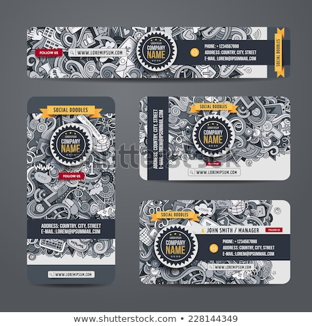 Corporate Identity vector templates set design with doodles hand Stock photo © balabolka