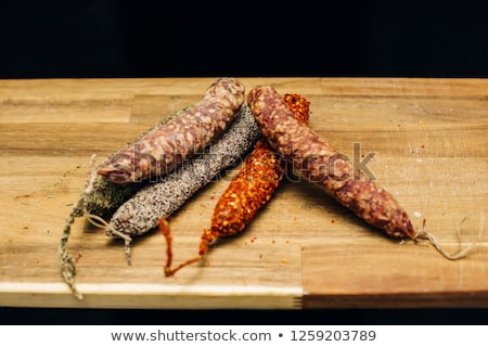 Variety of french dried sausages from Auvergne Stock photo © boggy