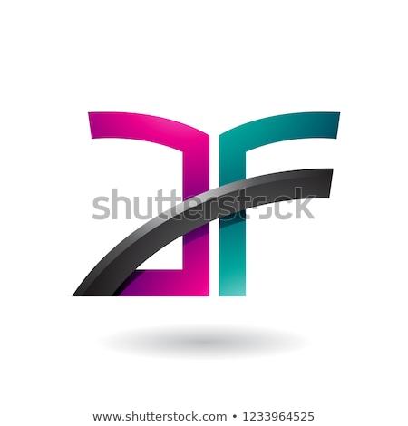 пурпурный зеленый письме икона вектора изолированный Сток-фото © cidepix