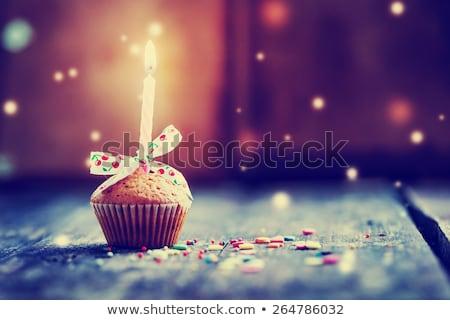 születésnapi · üdvözlet · sablon · csokoládés · sütemény · illusztráció · fény · születésnap - stock fotó © colematt