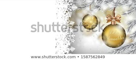 Frohe Weihnachten Frozen Twigs Snowfall Golden Bauble Ribbon Hea Stock photo © limbi007