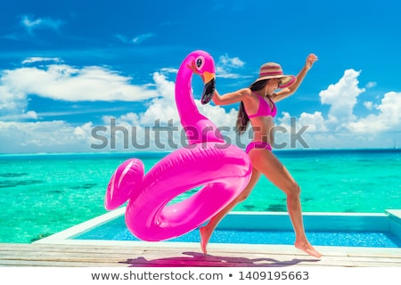 Pink flamingo on beach Stock photo © neirfy