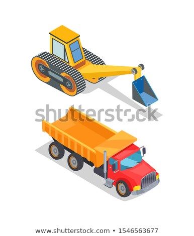 Excavator and Truck with Empty Loading Container Stock photo © robuart