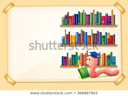 Certificate template with worm reading books Stock photo © colematt