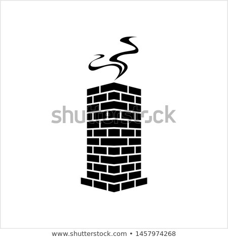 Winter House with Chimney, Smoke from Pipe, Vector Stock photo © robuart