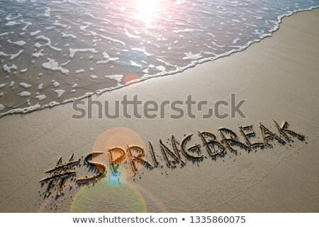 Szöveg tavaszi szünet közelkép kezek fiatal kaukázusi Stock fotó © nito