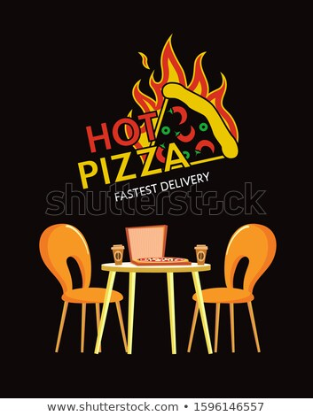 Hot Pizza Fastest Delivery, Pizzeria Cuisine Logo Stock photo © robuart