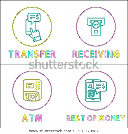 Stock photo: Money Transfer and Cash Receiving Lineout Icon Set