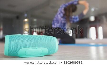 draadloze · spreker · tabel · vrouw · vergadering - stockfoto © andreypopov
