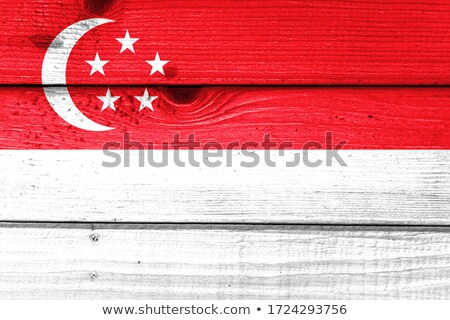 Singapore flag on wooden board Stock photo © colematt